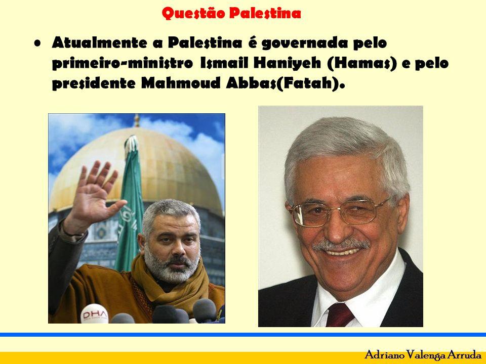 Atualmente a Palestina é governada pelo primeiro-ministro Ismail Haniyeh (Hamas) e pelo presidente Mahmoud Abbas(Fatah).
