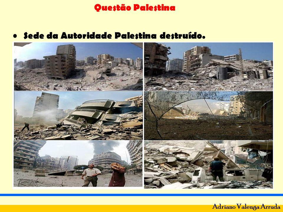 Sede da Autoridade Palestina destruído.