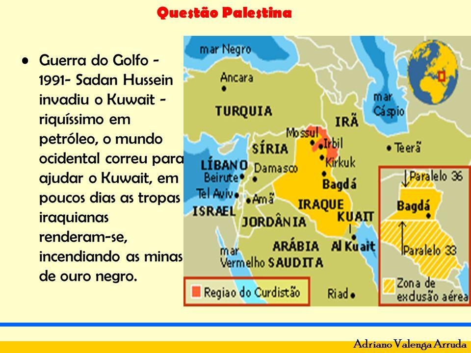 Guerra do Golfo -1991- Sadan Hussein invadiu o Kuwait - riquíssimo em petróleo, o mundo ocidental correu para ajudar o Kuwait, em poucos dias as tropas iraquianas renderam-se, incendiando as minas de ouro negro.