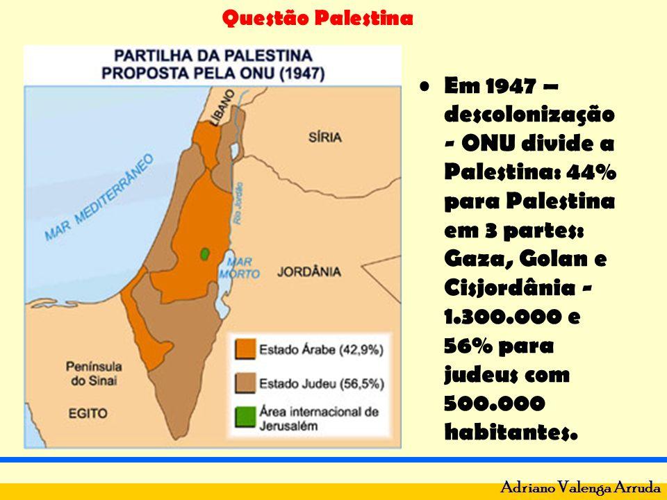 Em 1947 – descolonização - ONU divide a Palestina: 44% para Palestina em 3 partes: Gaza, Golan e Cisjordânia - 1.300.000 e 56% para judeus com 500.000 habitantes.