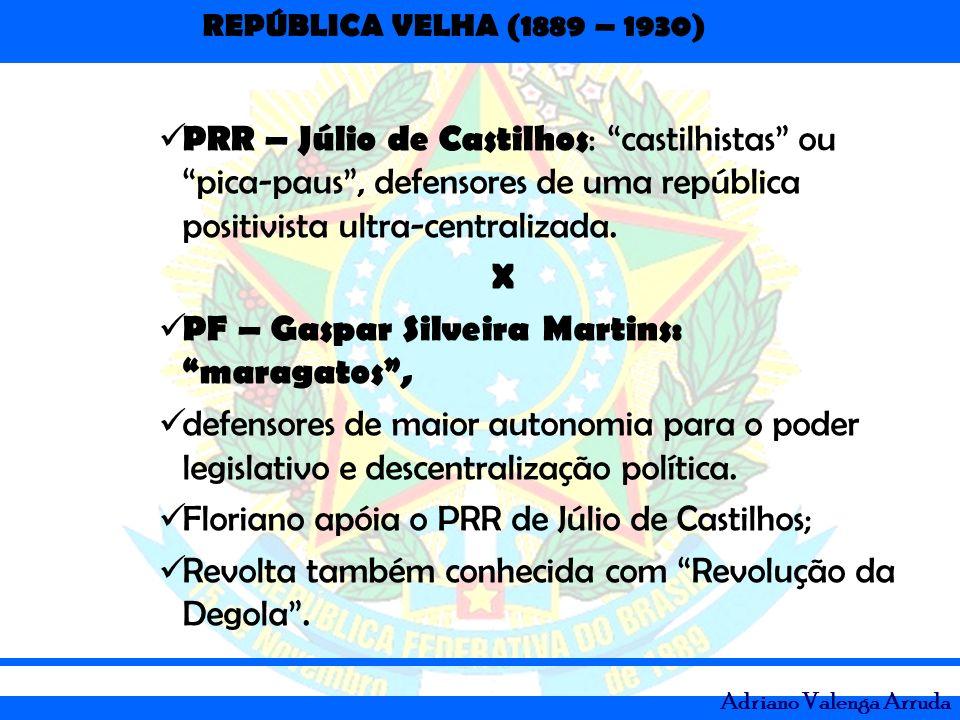 PRR – Júlio de Castilhos: castilhistas ou pica-paus , defensores de uma república positivista ultra-centralizada.