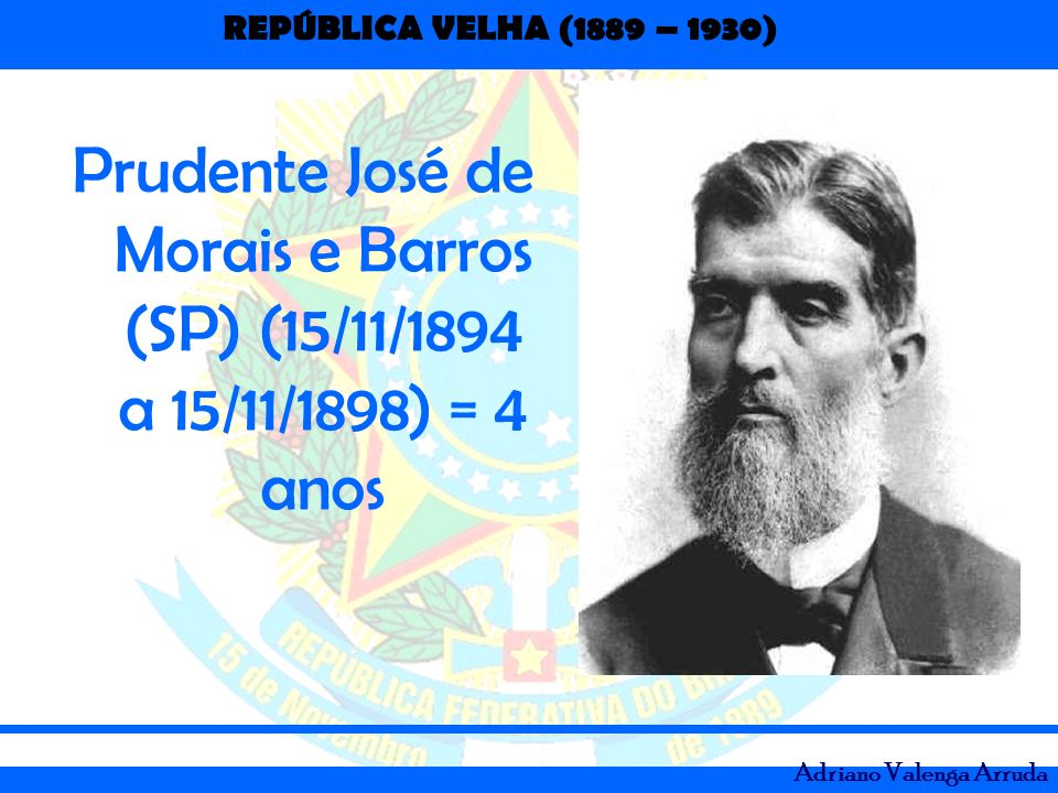 Prudente José de Morais e Barros (SP) (15/11/1894 a 15/11/1898) = 4 anos