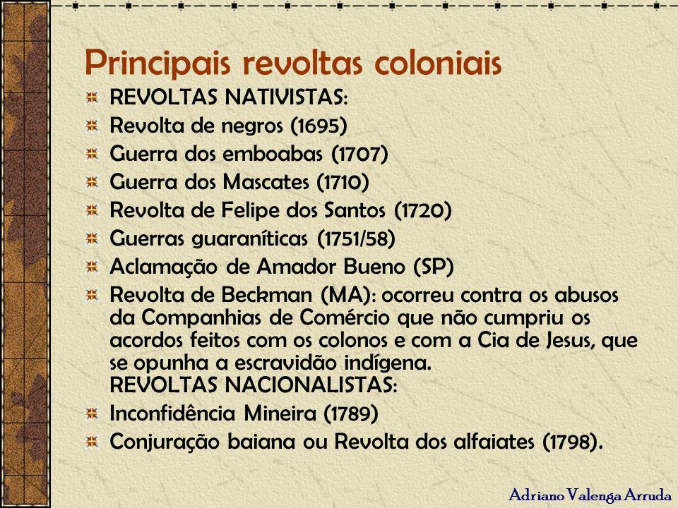 Principais revoltas coloniais
