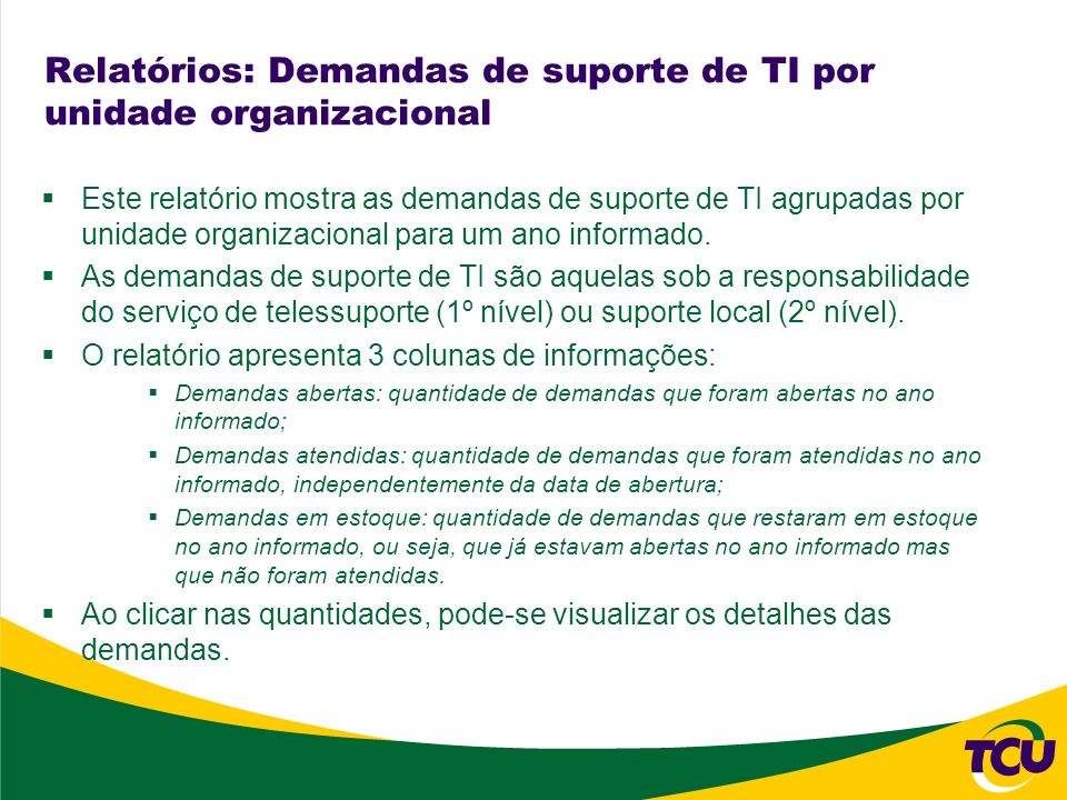 Relatórios: Demandas de suporte de TI por unidade organizacional