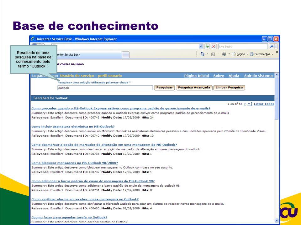Base de conhecimento Resultado de uma pesquisa na base de conhecimento pelo termo Outlook .