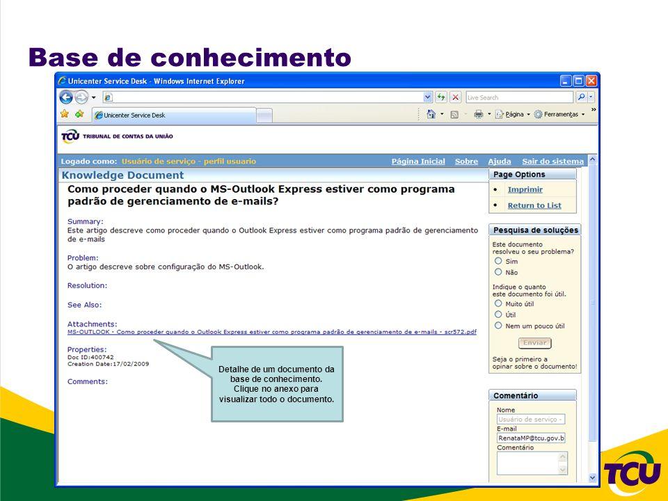 Base de conhecimento Detalhe de um documento da base de conhecimento.