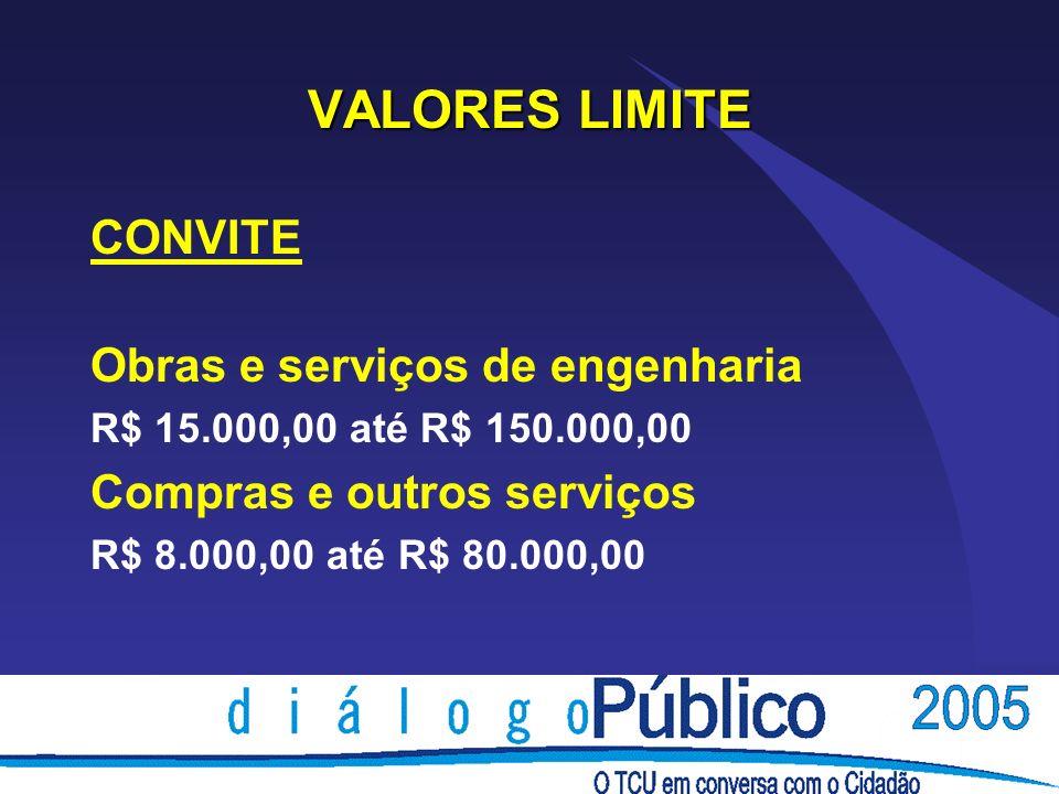 VALORES LIMITE CONVITE Obras e serviços de engenharia
