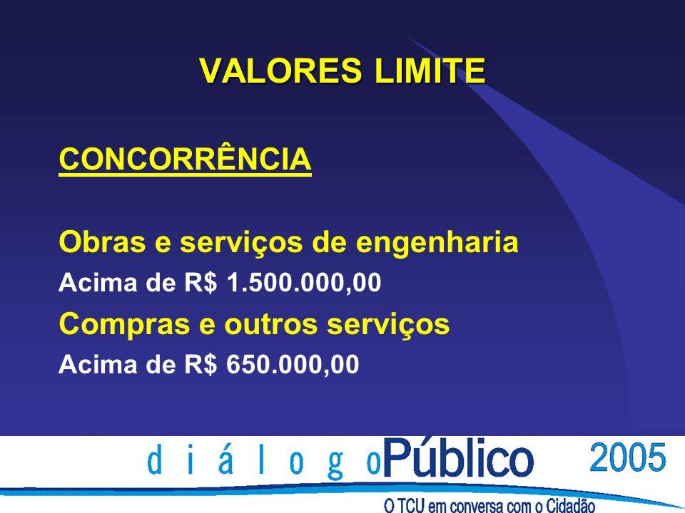 VALORES LIMITE CONCORRÊNCIA Obras e serviços de engenharia
