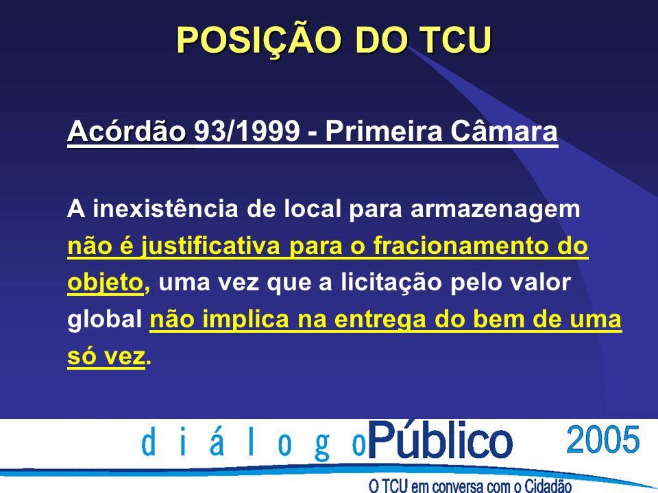 POSIÇÃO DO TCU Acórdão 93/1999 - Primeira Câmara