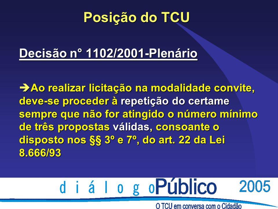 Posição do TCU Decisão n° 1102/2001-Plenário