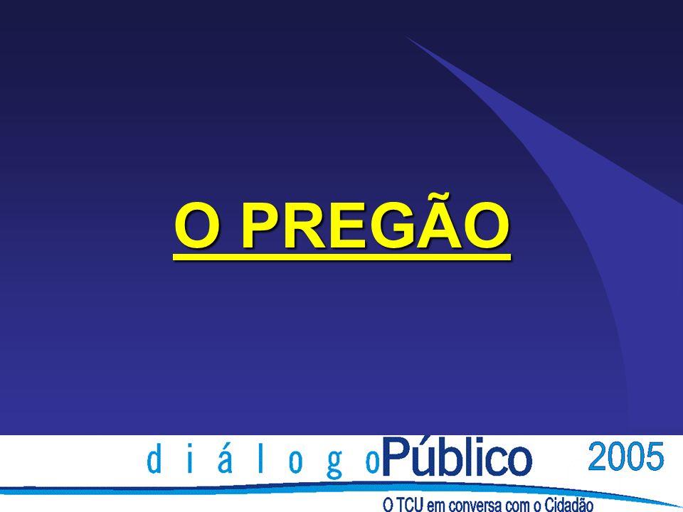 O PREGÃO Dar maior TRANSPARÊNCIA E AGILIDADE às compras do Governo, minimizando os custos da Administração Pública bem como dos fornecedores.