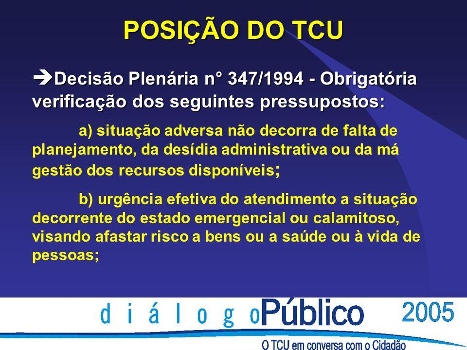 POSIÇÃO DO TCU Decisão Plenária n° 347/1994 - Obrigatória verificação dos seguintes pressupostos: