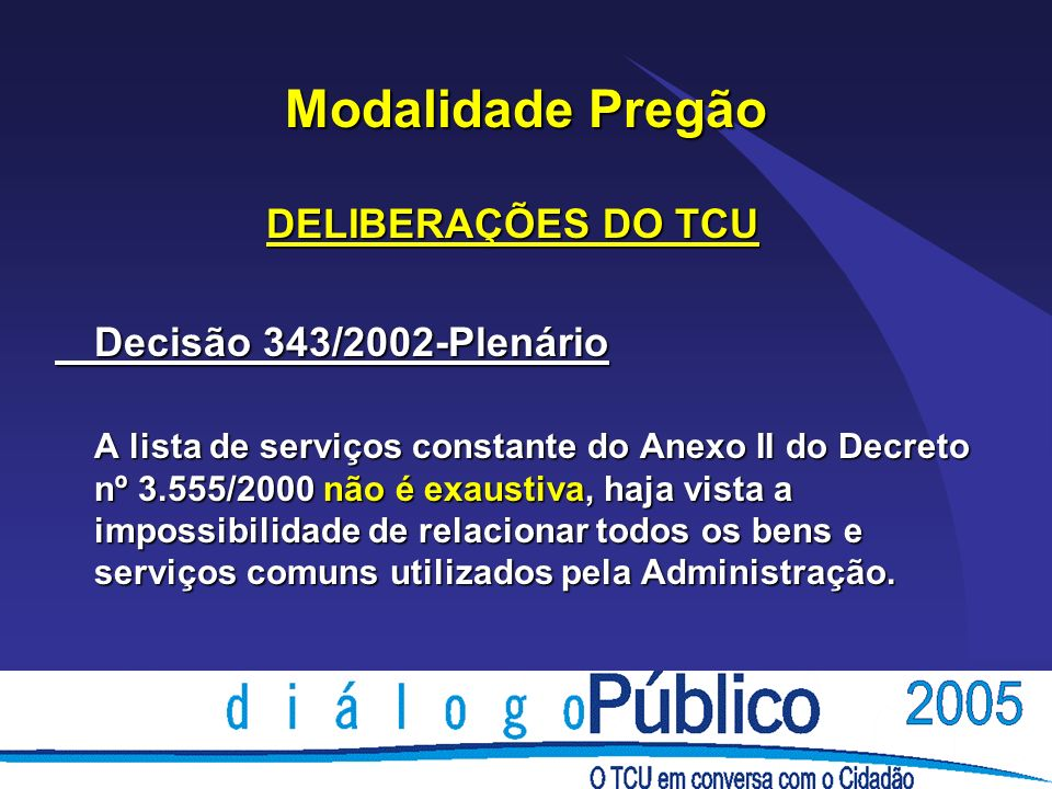 Modalidade Pregão DELIBERAÇÕES DO TCU Decisão 343/2002-Plenário