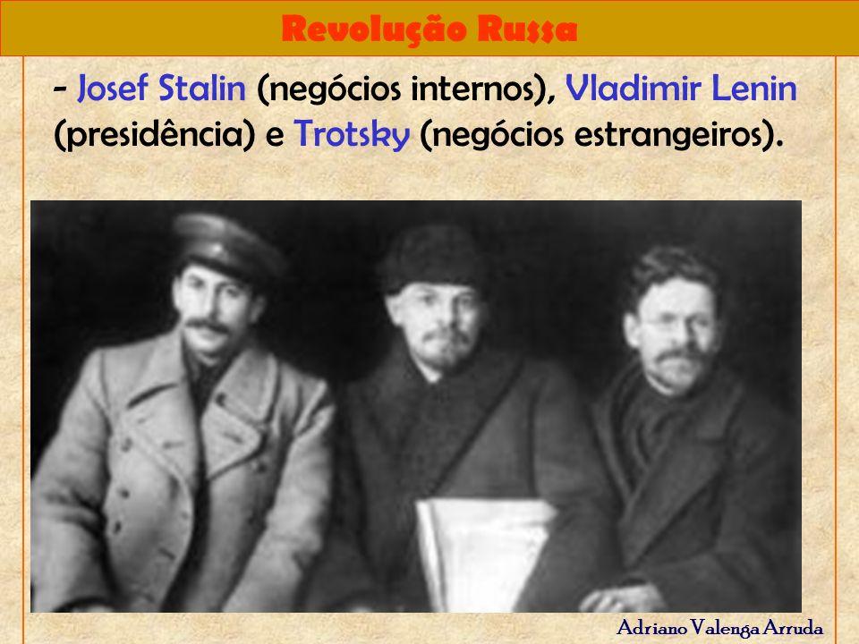 - Josef Stalin (negócios internos), Vladimir Lenin (presidência) e Trotsky (negócios estrangeiros).