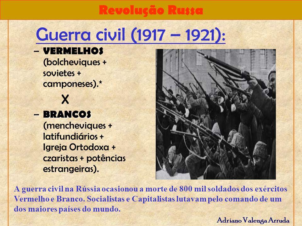 Guerra civil (1917 – 1921): VERMELHOS (bolcheviques + sovietes + camponeses).* X.