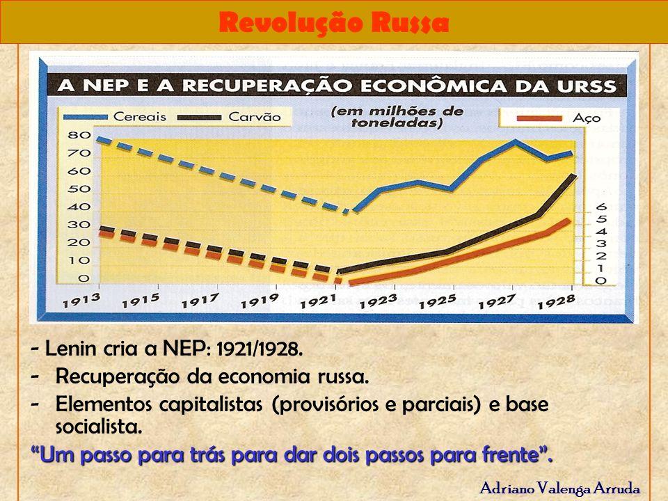 - Lenin cria a NEP: 1921/1928. Recuperação da economia russa. Elementos capitalistas (provisórios e parciais) e base socialista.