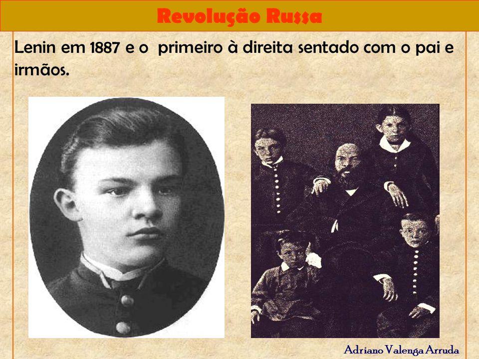 Lenin em 1887 e o primeiro à direita sentado com o pai e irmãos.