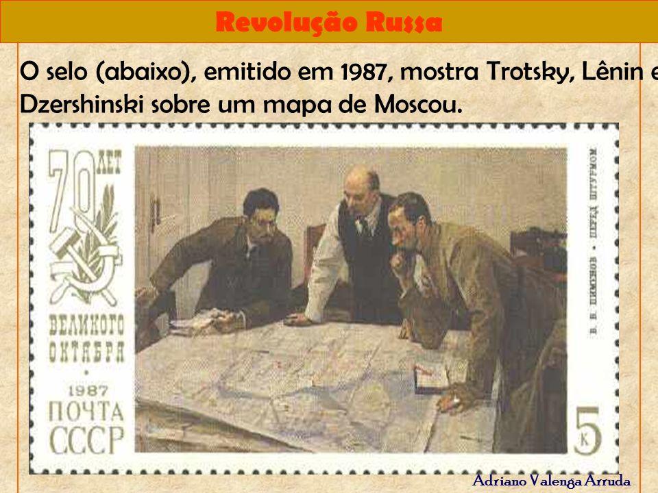 O selo (abaixo), emitido em 1987, mostra Trotsky, Lênin e Dzershinski sobre um mapa de Moscou.