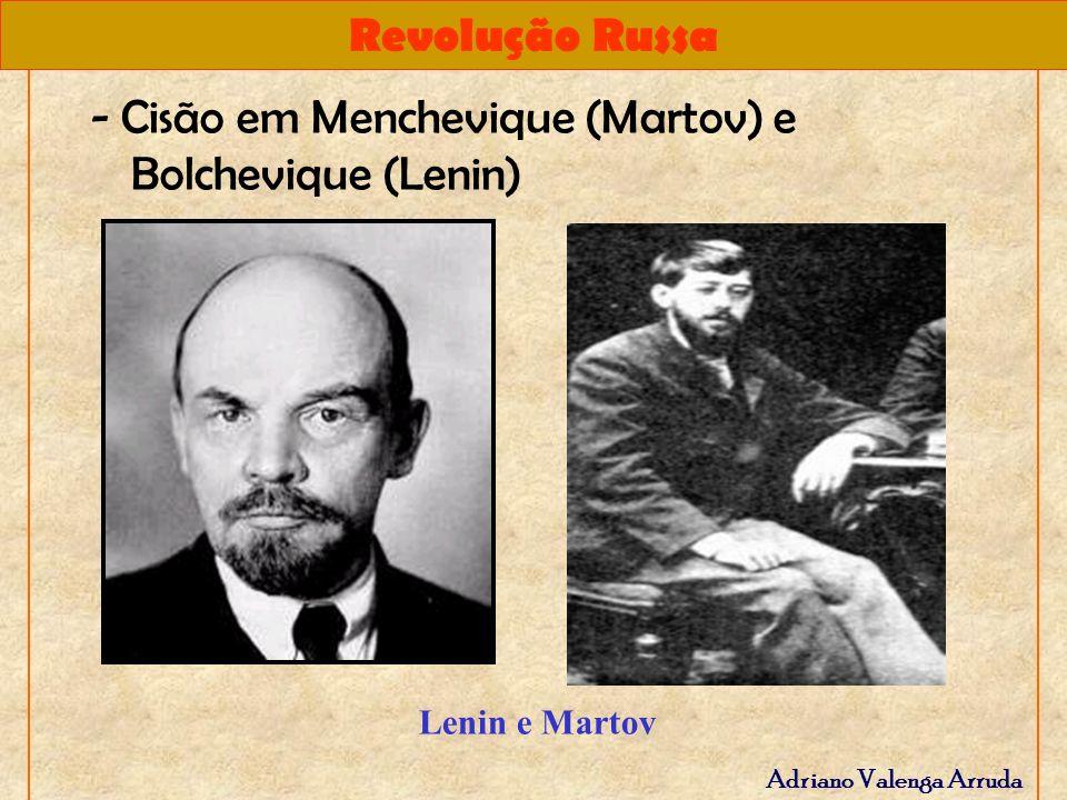 - Cisão em Menchevique (Martov) e Bolchevique (Lenin)