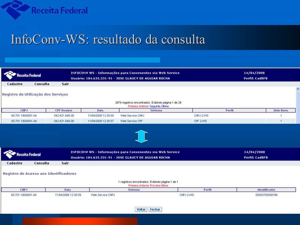 InfoConv-WS: resultado da consulta