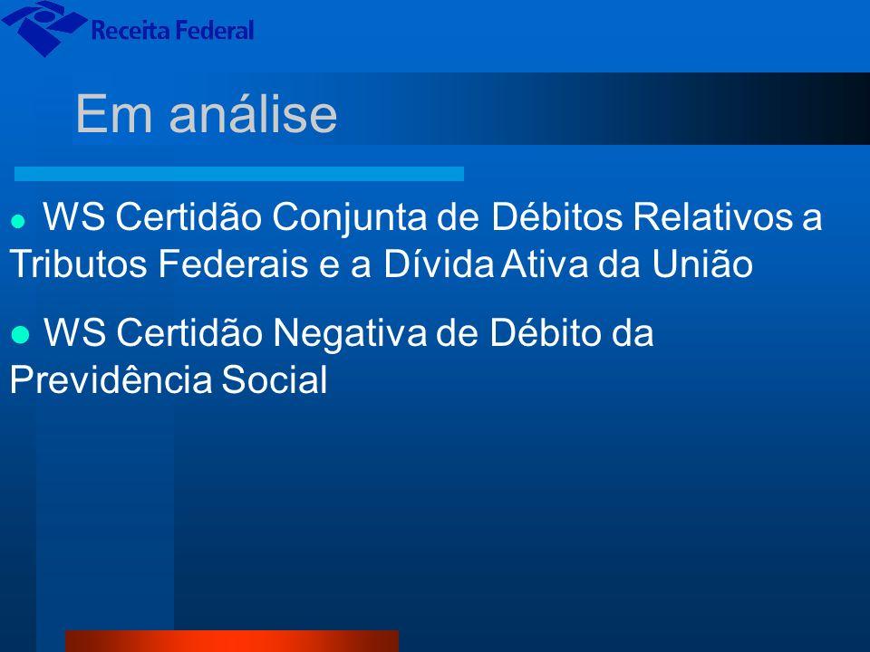 Em análise WS Certidão Negativa de Débito da Previdência Social