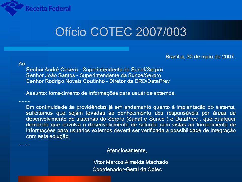 Ofício COTEC 2007/003 Brasília, 30 de maio de 2007.