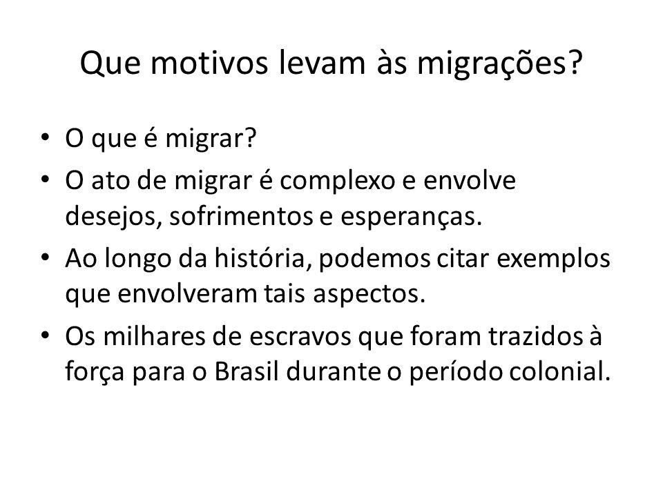 Que motivos levam às migrações