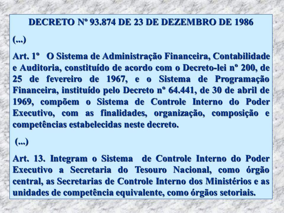 DECRETO Nº 93.874 DE 23 DE DEZEMBRO DE 1986