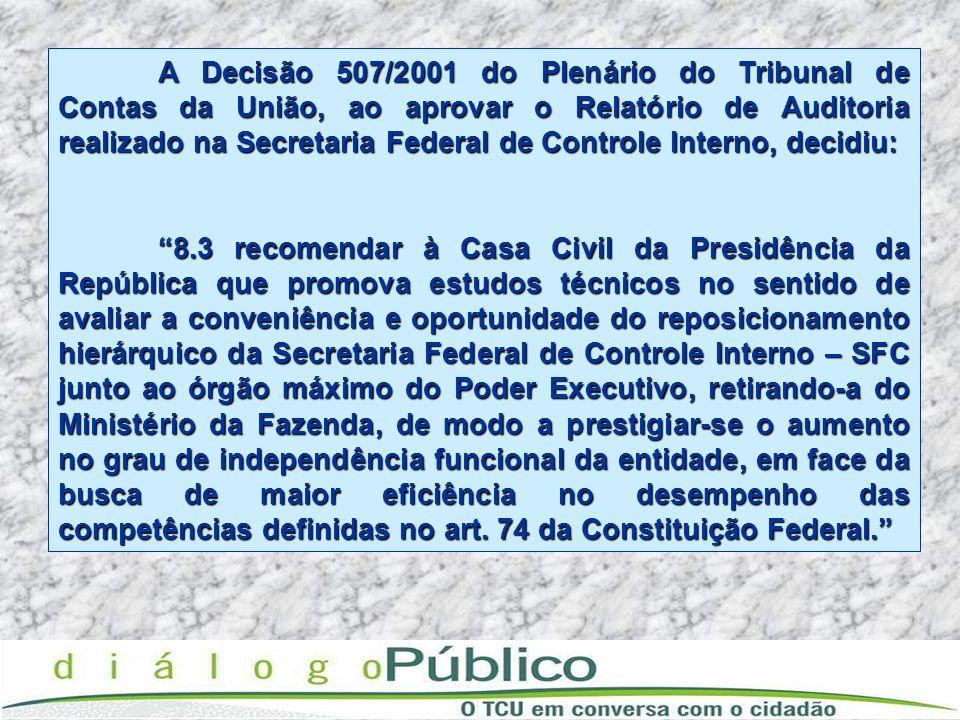 A Decisão 507/2001 do Plenário do Tribunal de Contas da União, ao aprovar o Relatório de Auditoria realizado na Secretaria Federal de Controle Interno, decidiu: