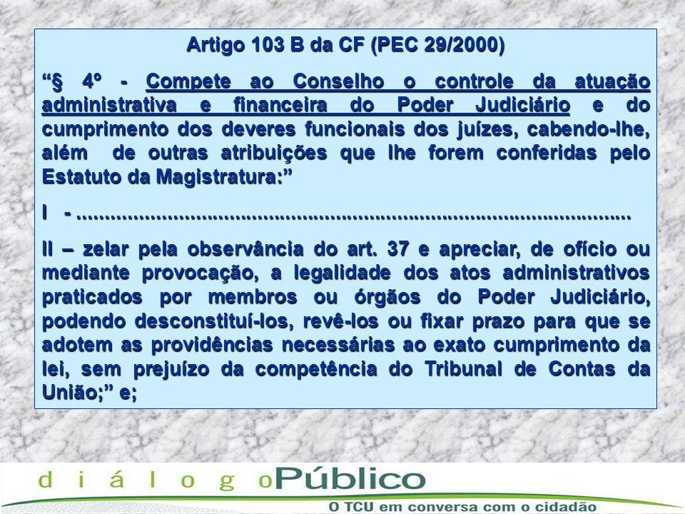 Artigo 103 B da CF (PEC 29/2000)