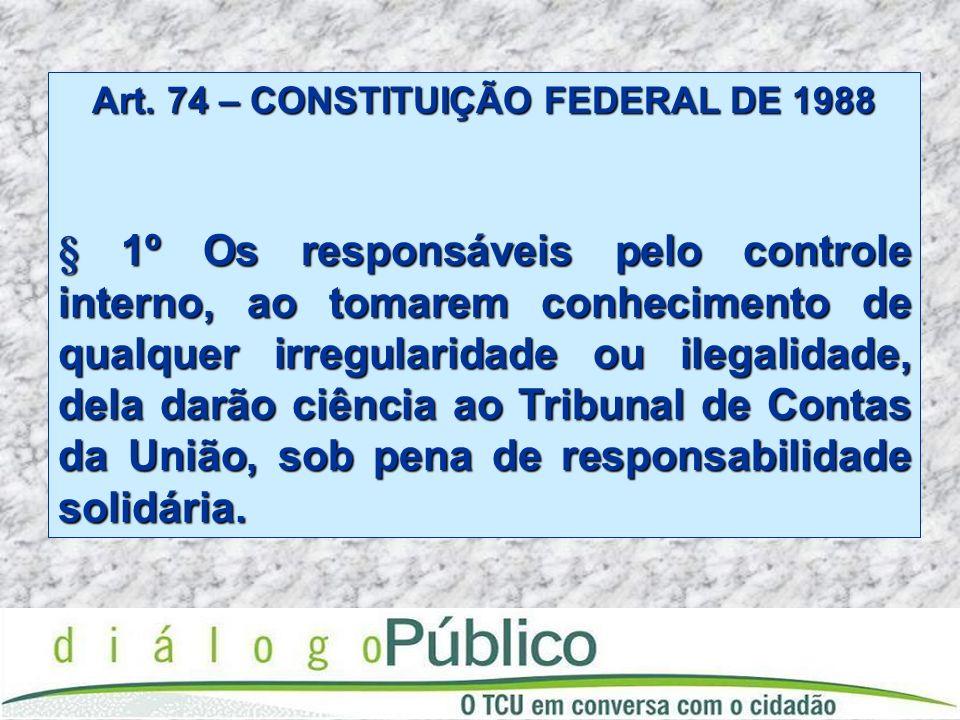 Art. 74 – CONSTITUIÇÃO FEDERAL DE 1988