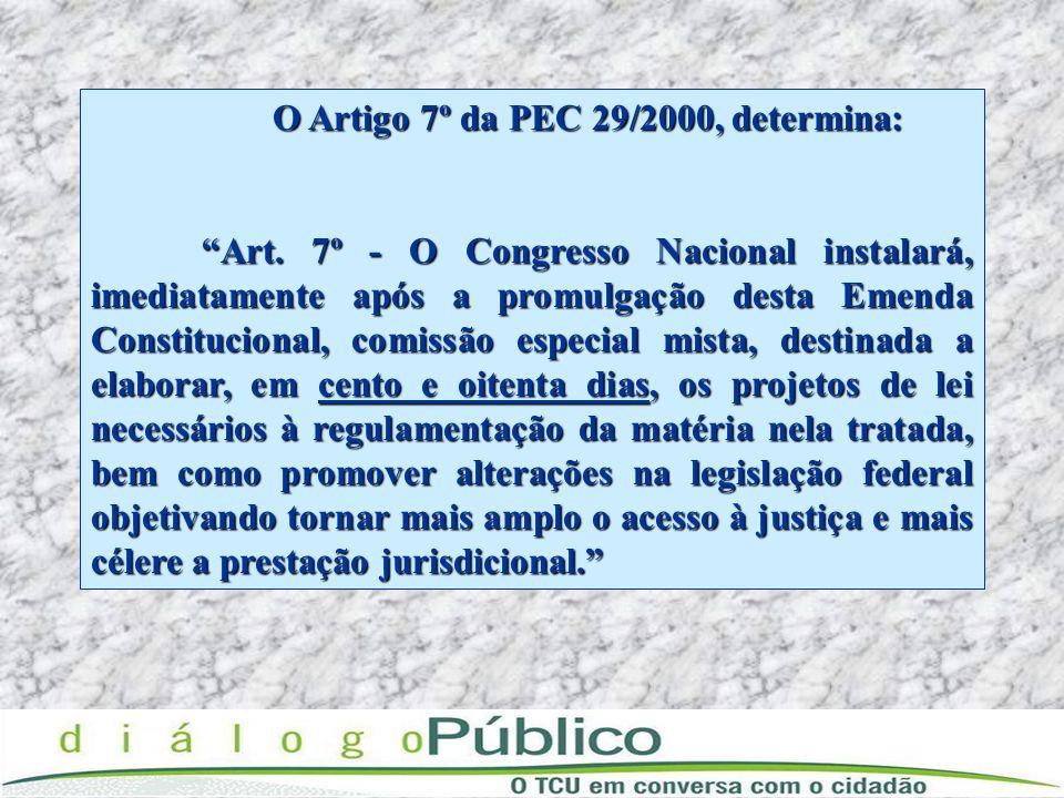 O Artigo 7º da PEC 29/2000, determina: