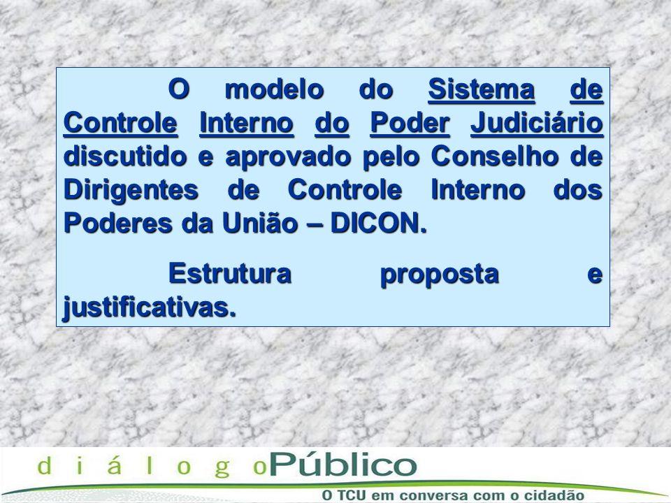 O modelo do Sistema de Controle Interno do Poder Judiciário discutido e aprovado pelo Conselho de Dirigentes de Controle Interno dos Poderes da União – DICON.