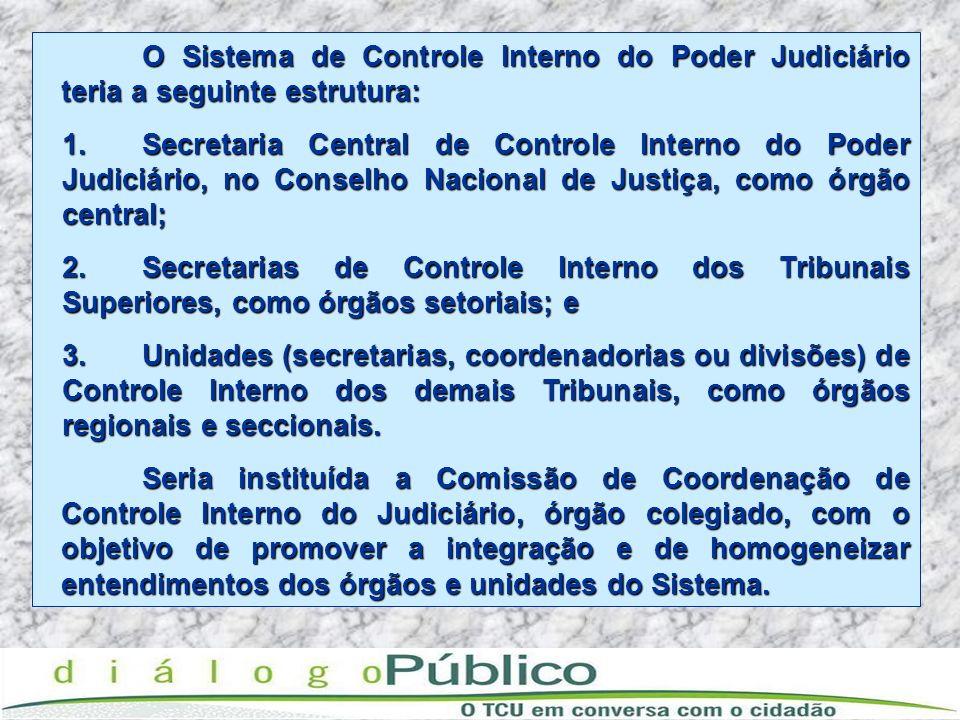 O Sistema de Controle Interno do Poder Judiciário teria a seguinte estrutura: