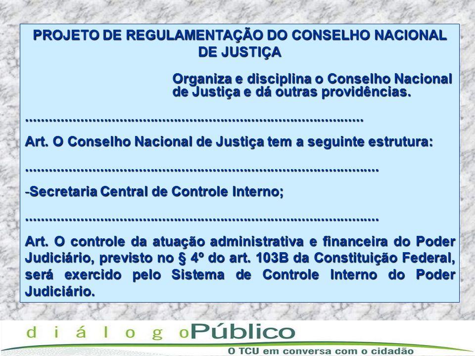 PROJETO DE REGULAMENTAÇÃO DO CONSELHO NACIONAL DE JUSTIÇA