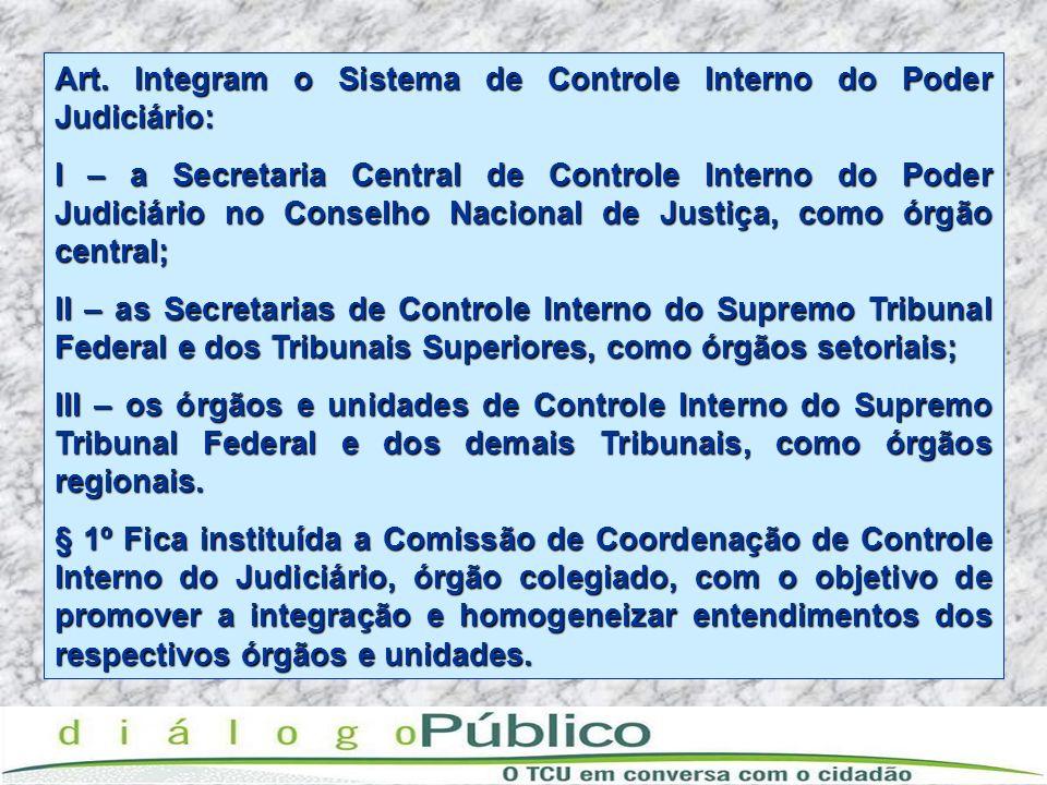 Art. Integram o Sistema de Controle Interno do Poder Judiciário: