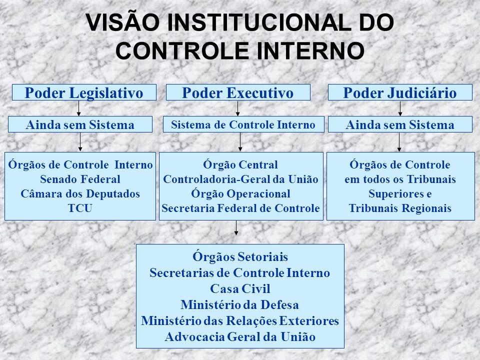 VISÃO INSTITUCIONAL DO CONTROLE INTERNO