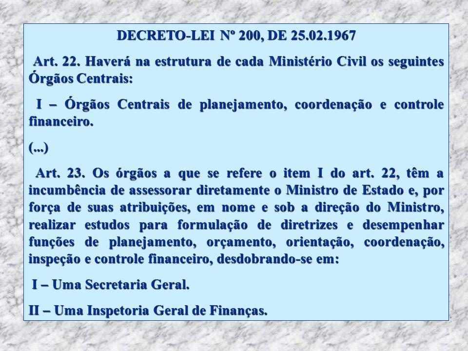 DECRETO-LEI Nº 200, DE 25.02.1967 Art. 22. Haverá na estrutura de cada Ministério Civil os seguintes Órgãos Centrais: