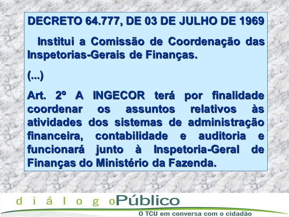 DECRETO 64.777, DE 03 DE JULHO DE 1969 Institui a Comissão de Coordenação das Inspetorias-Gerais de Finanças.