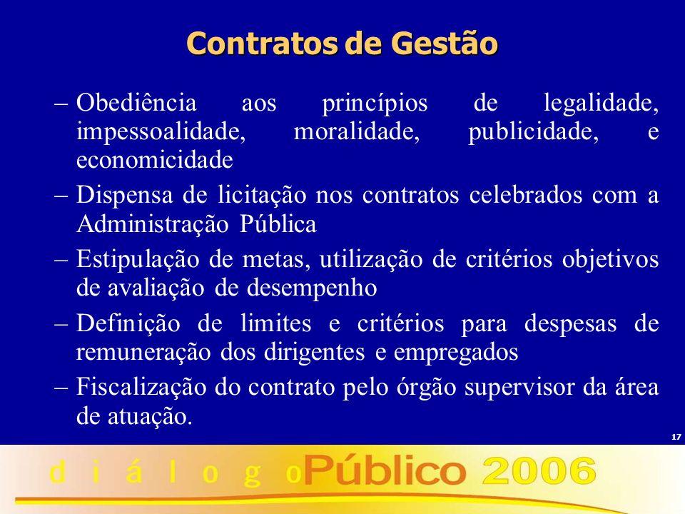Contratos de Gestão Obediência aos princípios de legalidade, impessoalidade, moralidade, publicidade, e economicidade.