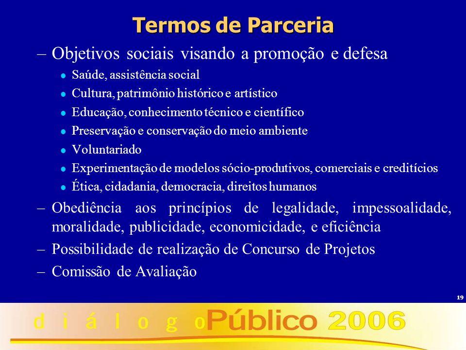Termos de Parceria Objetivos sociais visando a promoção e defesa