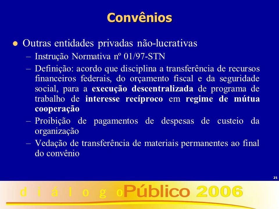 Convênios Outras entidades privadas não-lucrativas