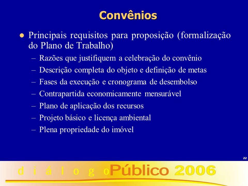 Convênios Principais requisitos para proposição (formalização do Plano de Trabalho) Razões que justifiquem a celebração do convênio.