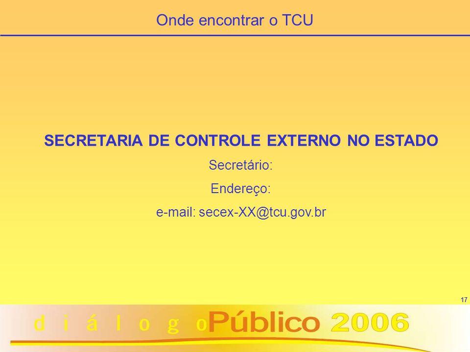 SECRETARIA DE CONTROLE EXTERNO NO ESTADO