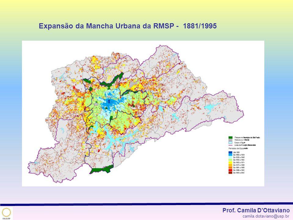 Expansão da Mancha Urbana da RMSP - 1881/1995