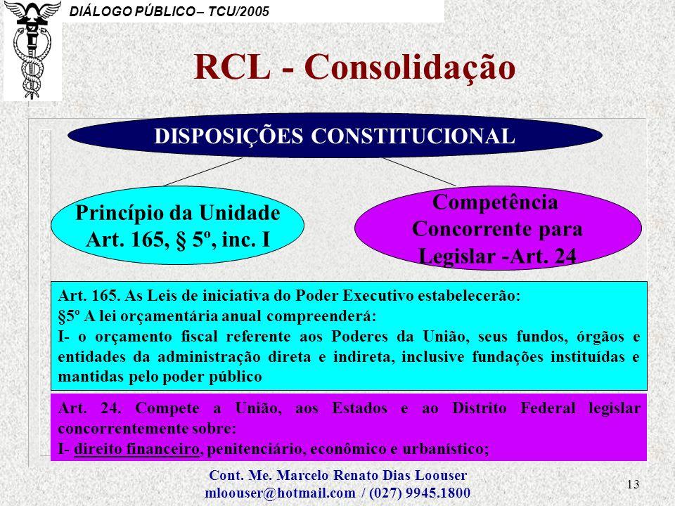 RCL - Consolidação DISPOSIÇÕES CONSTITUCIONAL Competência