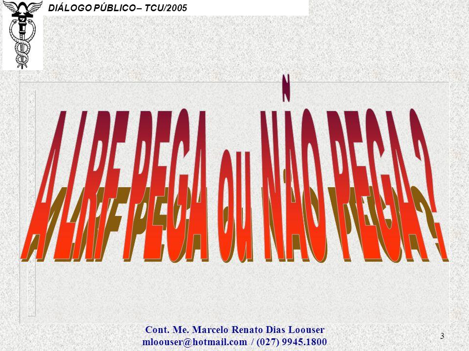 A LRF PEGA ou NÃO PEGA Cont. Me. Marcelo Renato Dias Loouser