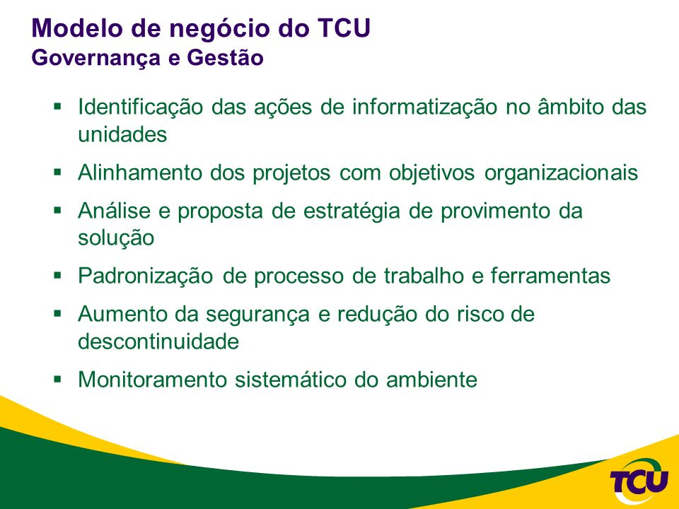Modelo de negócio do TCU Governança e Gestão