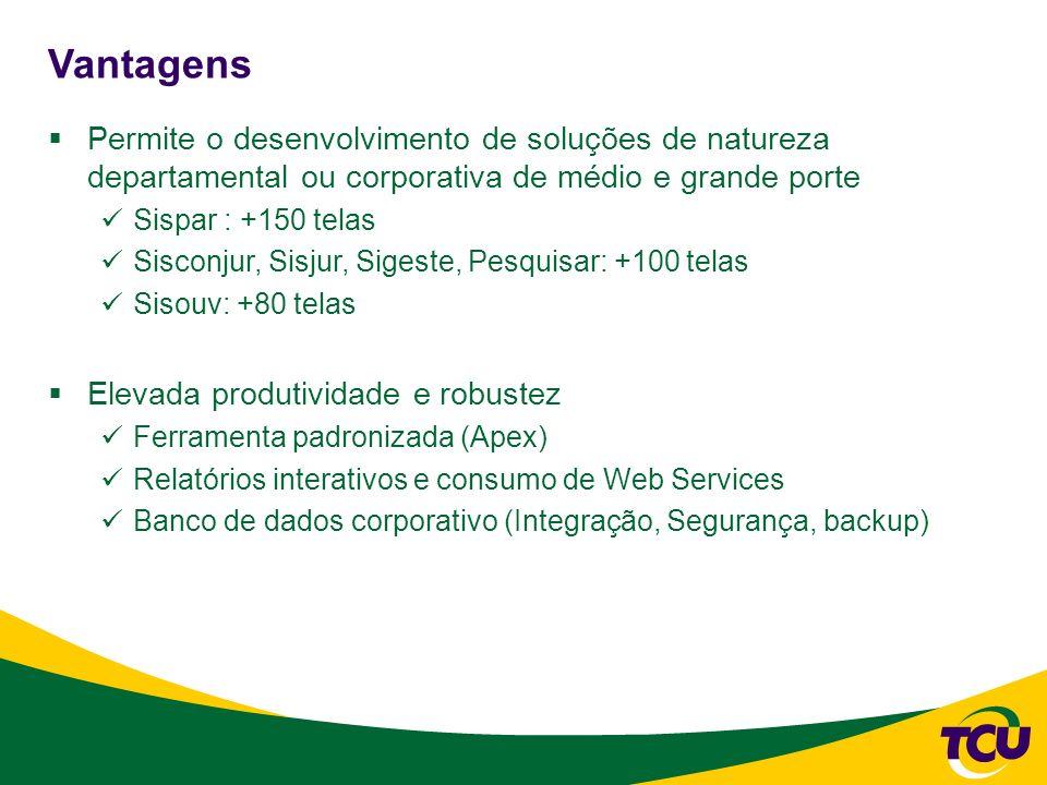 VantagensPermite o desenvolvimento de soluções de natureza departamental ou corporativa de médio e grande porte.