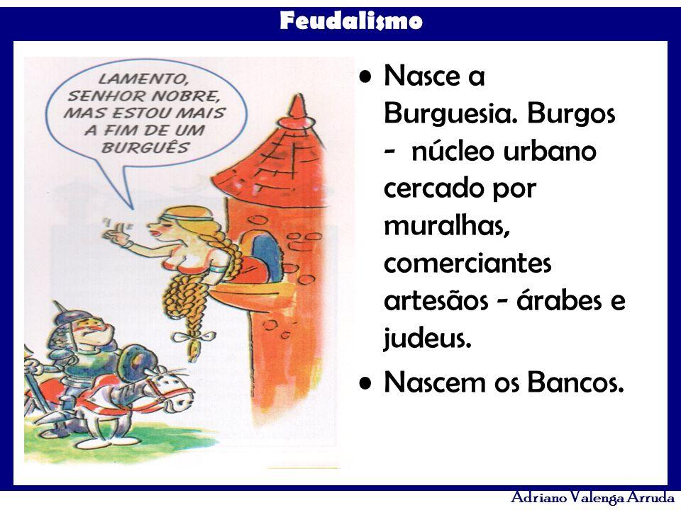 Nasce a Burguesia. Burgos - núcleo urbano cercado por muralhas, comerciantes artesãos - árabes e judeus.